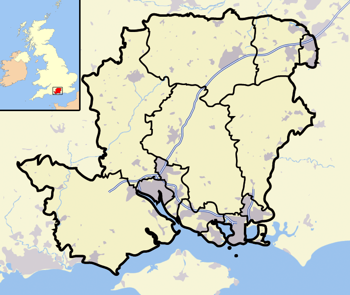 map of the United Kingdom showing Hampshire
